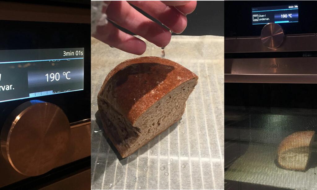 1-2-3: Forvarm på 190 grader, fukt brødet, stek i 10 minutter. Foto: Linn M. Rognø
