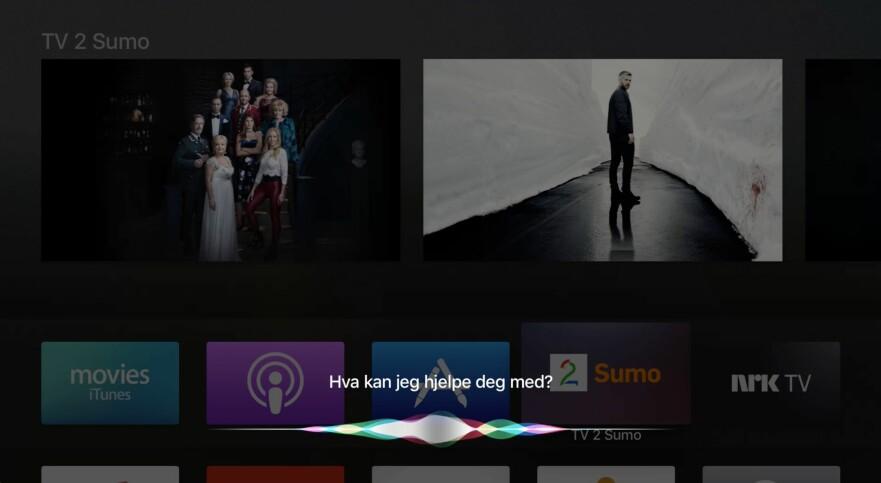 NORSK INNHOLD: Nå kan du bruke Siri på Apple TV for å finne innhold fra NRK og TV2 Sumo, men helt hundre prosent er det ikke. Se video lenger ned i saken. Foto: Pål Joakim Pollen