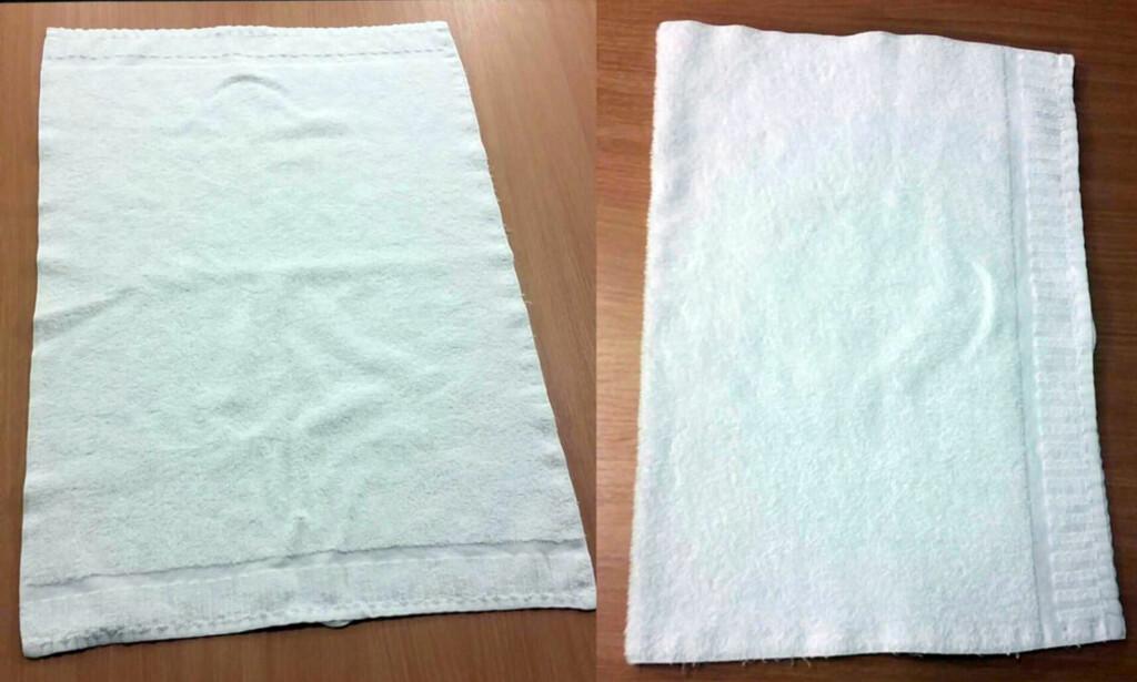 FØRSTE BRETT: Start med å legge håndkleet ned med langsiden fra deg. Brett det én gang fra den ene kanten og opp til den andre kanten. Foto: Rannei Reinton.