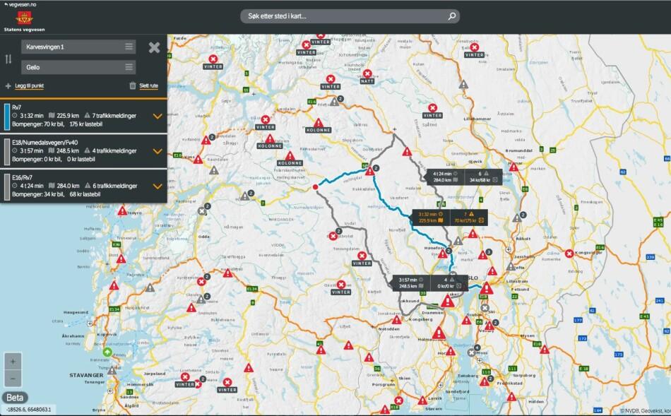 HJELPER DEG PÅ VEIEN: Vegvesen Trafikk er en interaktiv nett-tjeneste som består av en reiseplanlegger og et interaktivt kart. Her vil du finne informasjon om vær - og føreforhold, samt informasjon om trafikk og kø. FOTO: Skjermdump vegvesen.no/trafikk