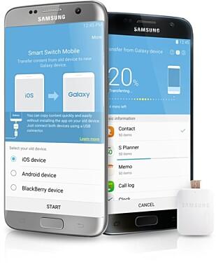 Med nyere Samsung-toppmodeller får du en hendig plugg du kan bruke for å overføre data fra en gammel telefon; også iPhone. Foto: Samsung
