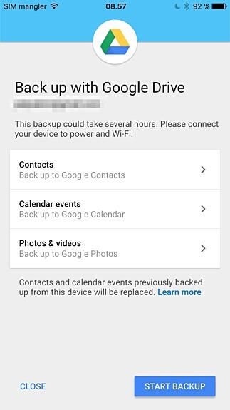 Via Google Drive-appen for iOS, kan du sikkerhetskopiere kontakter, kalendere, bilder og video.