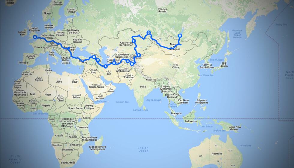 LANGTUR: Turen fra England til Mongolia er på hele 20 860 kilometer. Foto: Torkild Bredesen / Peter Bryng