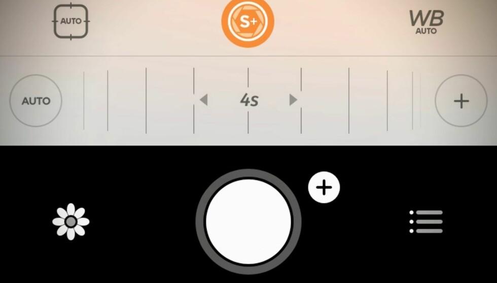 VELG SELV: Camera+-appen for iPhone er en av våre favoritter og lar deg velge lukkertid selv. Her har vi valgt fire sekunder. Foto: Pål Joakim Pollen