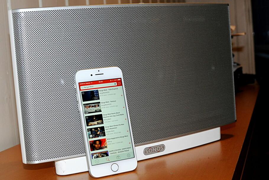 FLERROMS-YOUTUBE: Appen SonosTube lar deg spille musikken fra YouTube via Sonos direkte. Foto: Tore Neset