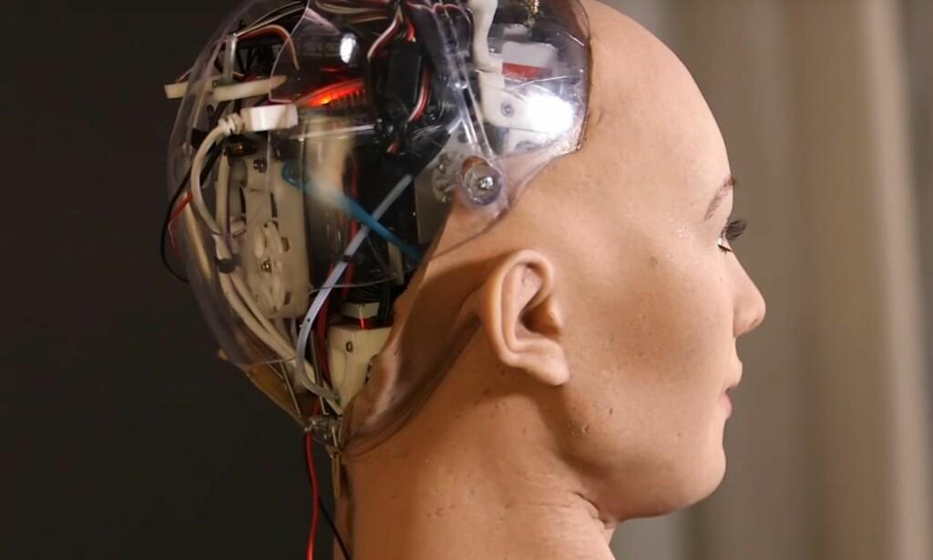 MENNESKELIGNENDE ROBOT: Sophia fra Hanson Robotics er en av verdens mest avanserte, menneskelignende roboter. Hun har avgitt flere intervjuer, og kan blant annet reagere med forskjellige ansiktstuttrykk. Foto: Hanson Robotics