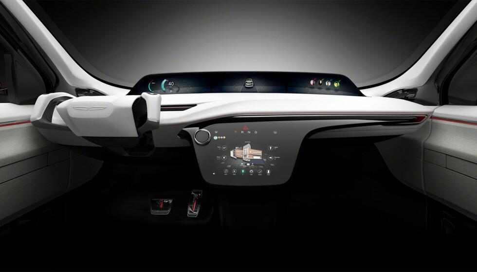 SCIENCE-FICTION: Det ser nesten skremmende ut, men sånn kan fremtidens bil se ut innvendig. Foto: Chrysler