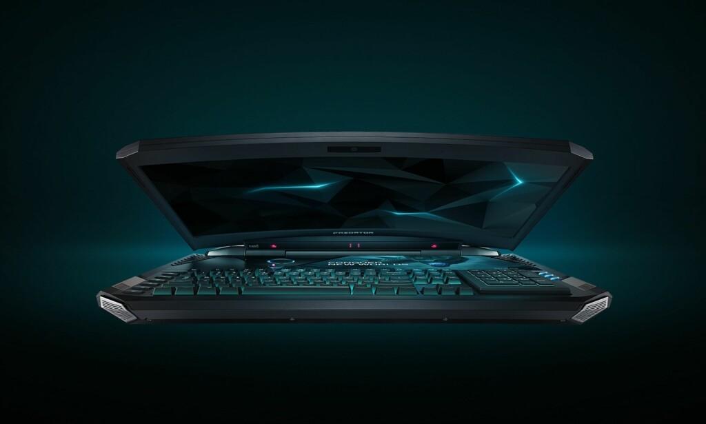 BEIST: Med en kurvet 21-tommers skjerm og heftig maskinvare er Predator 21 X trolig verdens råeste spill-bærbar. Foto: Acer