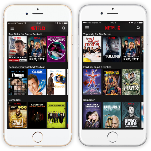 BRUKES HER: Netflix bruker blant annet stjernene for å foreslå innhold for deg på forsida. Foto: Ole Petter Baugerød Stokke
