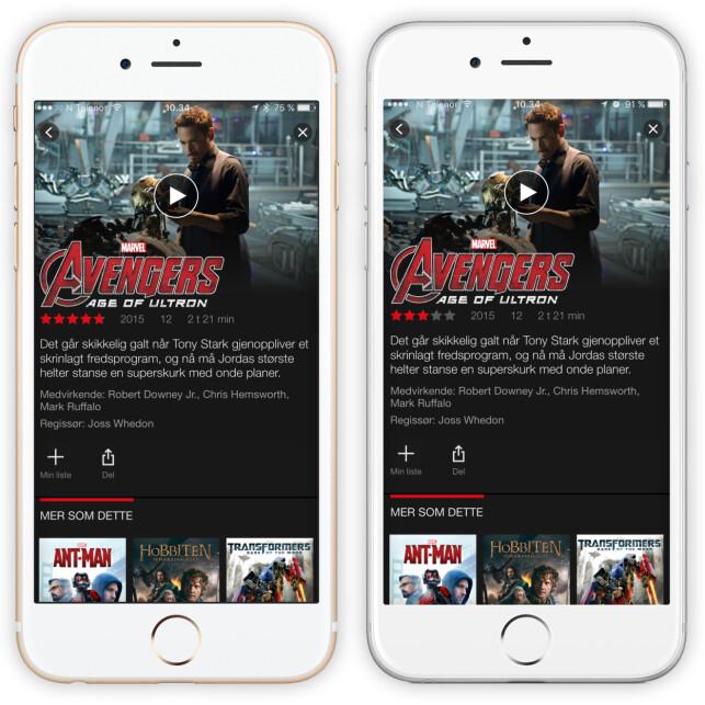 TO BRUKERE, TO RANGERINGER: Her ser du den samme filmen hos to forskjellige Netflix-brukere. Legg merke til at den ene får opp nesten fem stjerner, mens den andre bare får opp tre. Foto: Ole Petter Baugerød Stokke