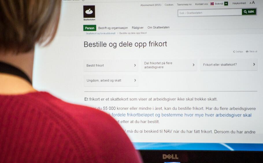 PASS PÅ: Glemmer du å fordele frikortet kan du måtte vente lenge på deler av lønna. Foto: Gaute Beckett Holmslet