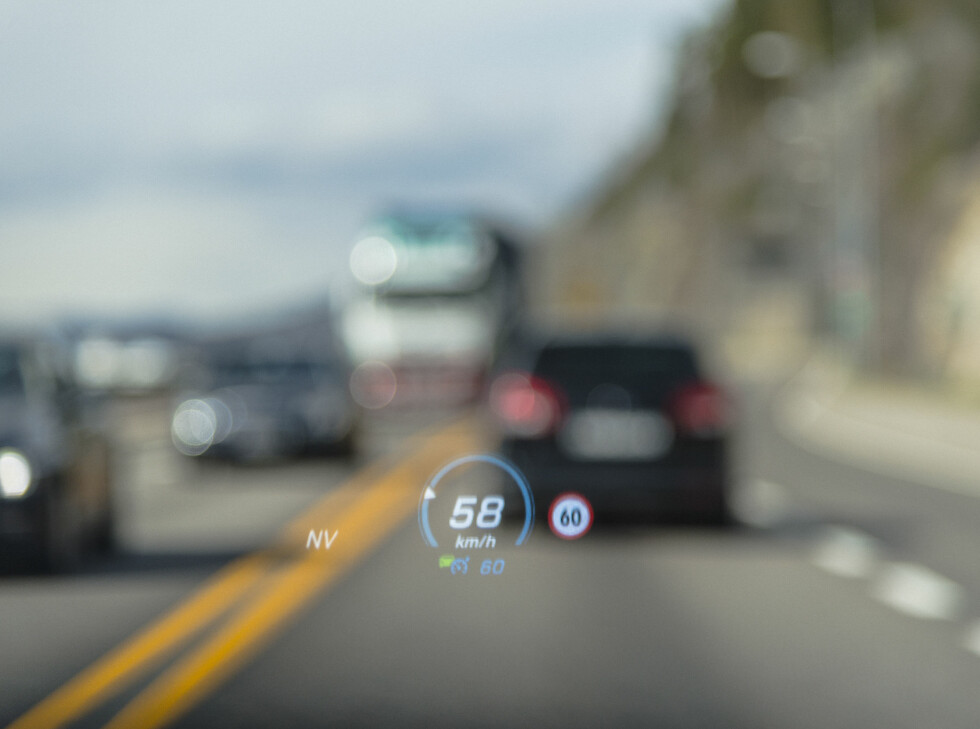 Head up display in the  new Mercedes-Benz E-Class. Foto: Jamieson Pothecary / Autofil