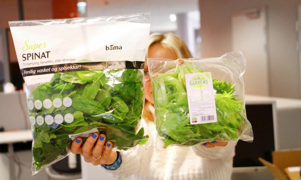 VASKET? INGEN RABATT, TAKK! Rema gir ikke rabatt på vasket og ferdig kuttet frukt og grønt. Dermed får vi ikke rabatt på spinaten til venstre, da den er vasket - men vi får rabatt på crispi-salaten til høyre, som du selv må skylle før bruk. Foto: Ole Petter Baugerød Stokke
