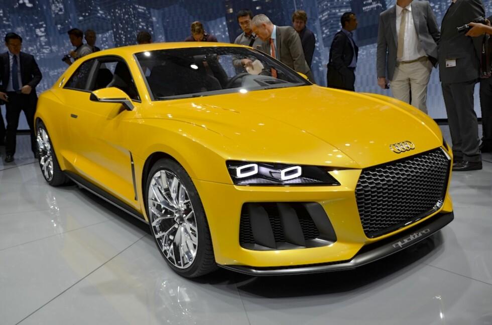 Audi har et nytt tøft konsept kalt Sport Quattro. Det bygger videre på Quattro-konseptet fra 2010. Med 700 hk innabords er det bruk for velfylte hjulbuer.  Foto: Stein Inge Stølen