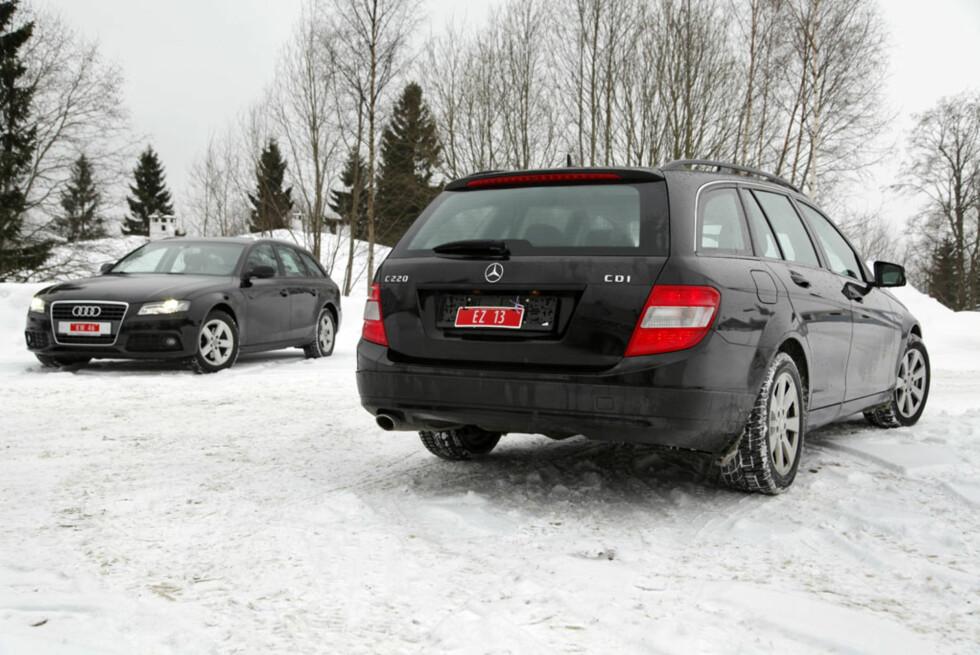 Både Audi A4 2,0 TDI og Mercedes-Benz C220 CDI er nå tilgjengelig for rundt 200 000 kroner.  Foto: Knut Arne Marcussen