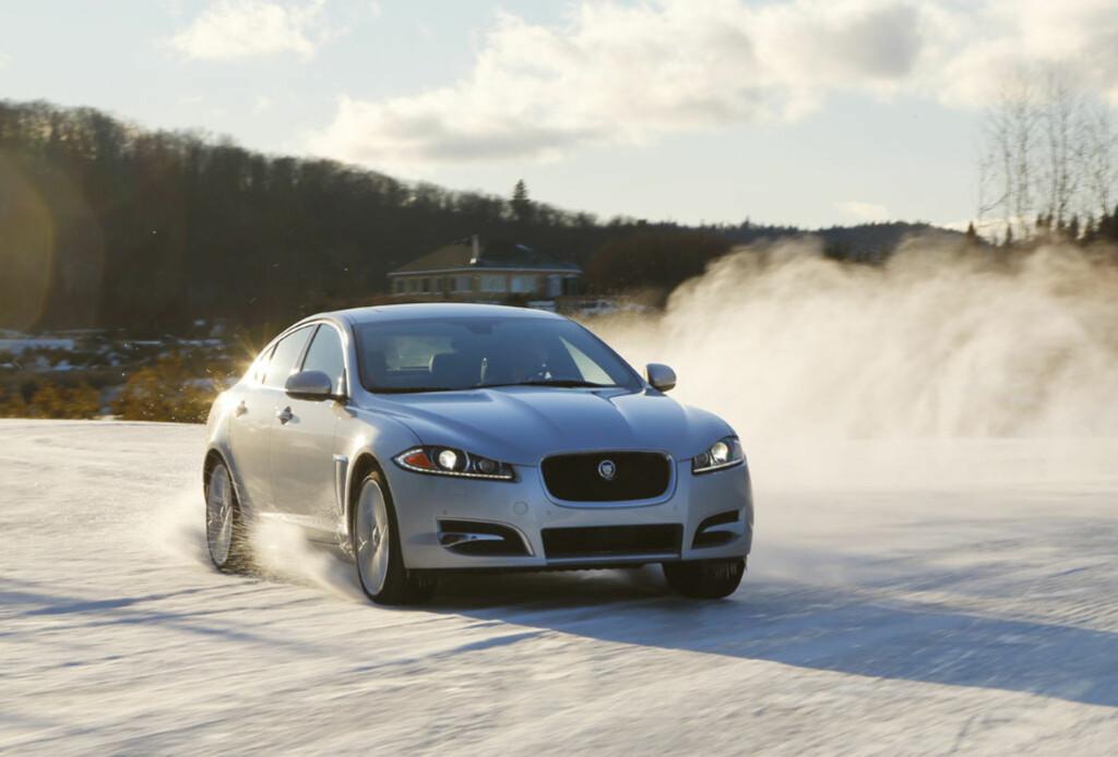 Jaguar XF har nå blitt en fullblods vinterbil med skikkelige muskler. Foto: Jaguar