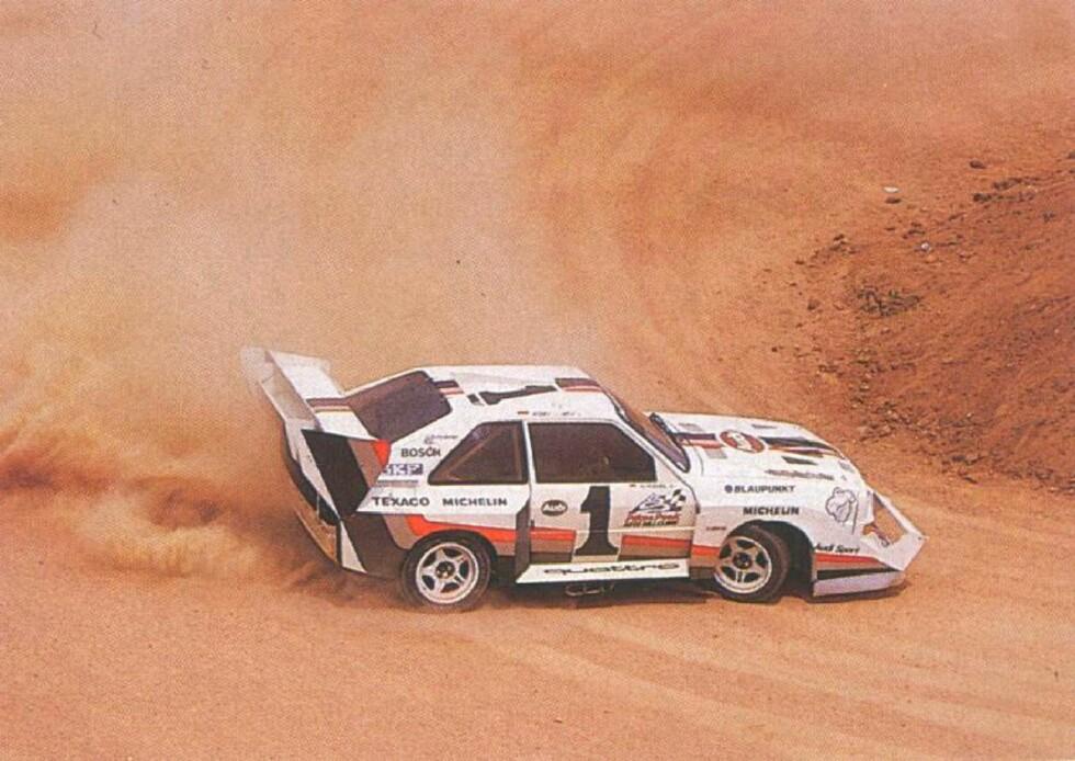 I den råeste versjonen hadde gamle Audi S1 600 hk. Her på vei til seier under Pikes Peak i 1987. Foto: Audi