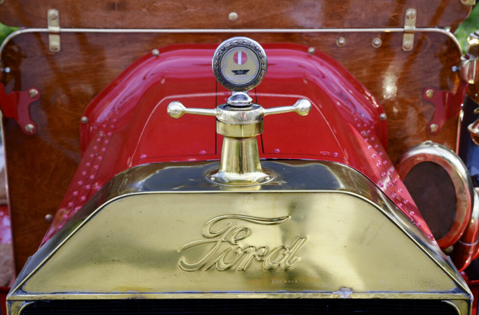 Verdens viktigste bil, en 1910-modell Ford Model T i bortimot strøken tilstand, eid av Harald Fadum. Denne bærer også et Boyce Motometer (ettermontert, Boyce patenterte ikke Motometeret før i 1912). Foto: Stein Inge Stølen