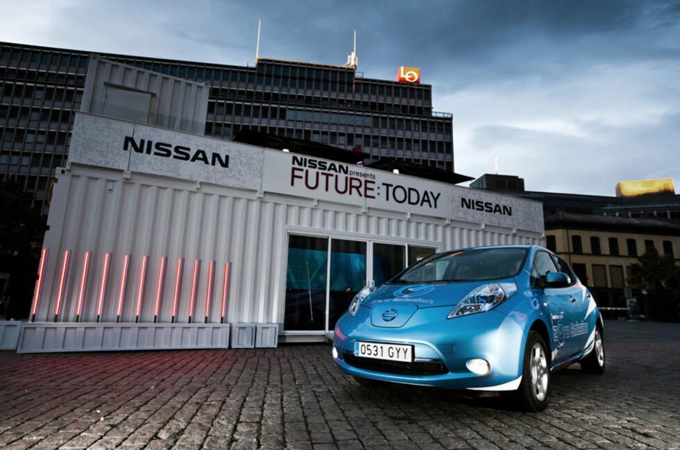 Nissans installasjon på Youngstorget består av en håndfull shipping-containere som har blitt ombygd på særdeles kreativt vis. Foto: Nissan