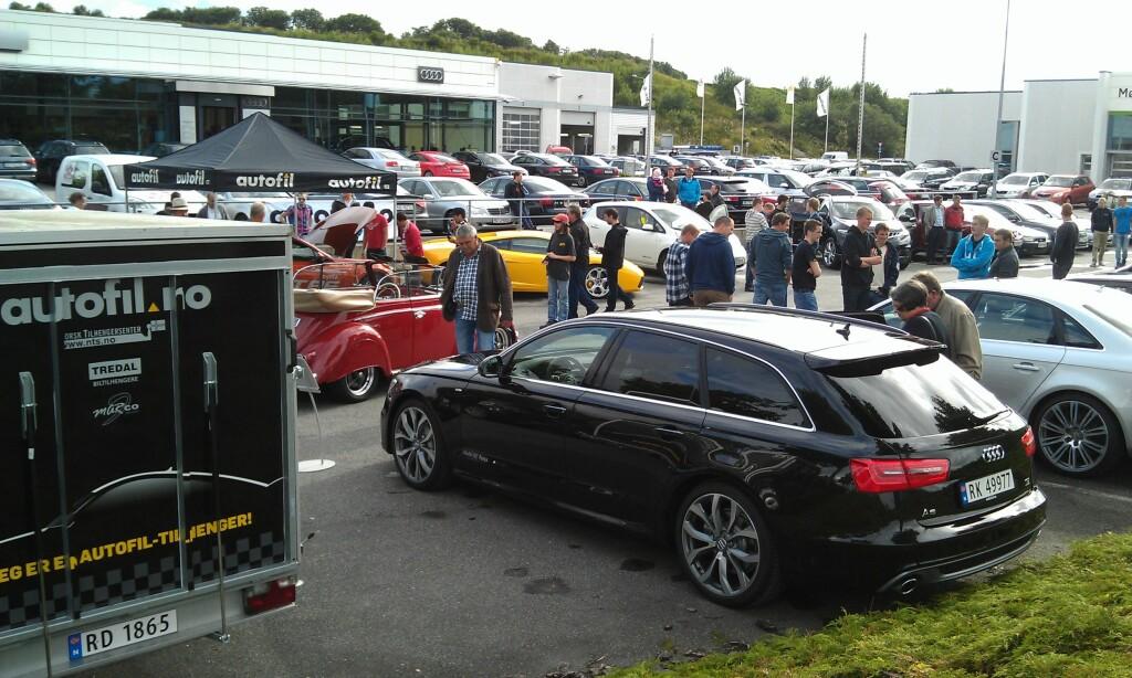 En custombygd Boble, en Lamborghini Gallardo, en Audi A6 Biturbodiesel og en Nissan Leaf: det er den typen variasjon du bare finner på Autofils Roadshow! Foto: Stein Inge Stølen