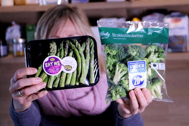 TOPPEDE GRØNNSAKER? Hva er forskjellen på aspargestopper og brokkolibuketter - sånn rent bortsett fra at det selvsagt er forskjellige grønnsaker? Begge er topper fra grønnsaken. Men vi får kun rabatt på asparges-toppene. Brokkolitoppene må vi betale full pris for. Foto: Ole Petter Baugerød Stokke