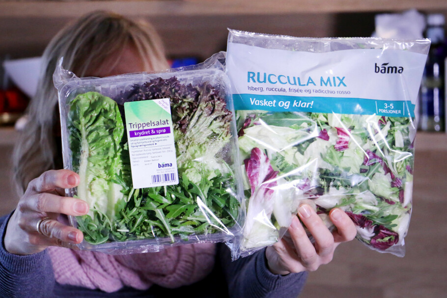 RABATT ELLER IKKE? Rema gir deg Æ-rabatt på salaten til venstre, men ikke den til høyre. Ser du forskjellen? Foto: Ole Petter Baugerød Stokke