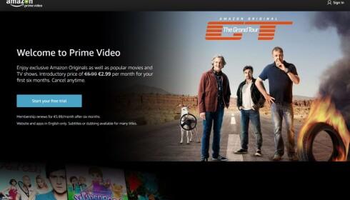 NYKOMMER: Amazon Prime Video kom til Norge på tampen av 2016, og foreløpig er det en del mangler med produktet. Foto: Skjermdump