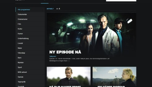 «GRATIS»: Lisensbetalerne sørger for at alle får tilgang til NRKs nett-TV og tilhørende apper. Der er det mye norsk innhold. Foto: Skjermdump