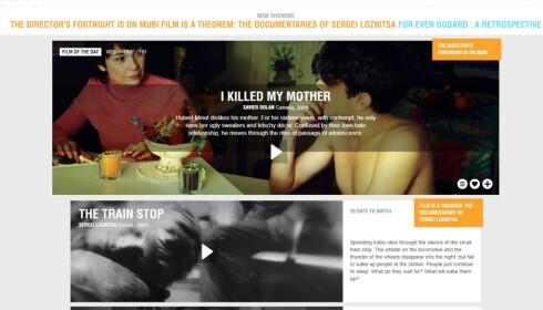 SMALT: Kortfilmer og obskure festivalfilmer. Mubi er for dem som er glad i filmhistorie og filmen som kunstform. Foto: Skjermdump