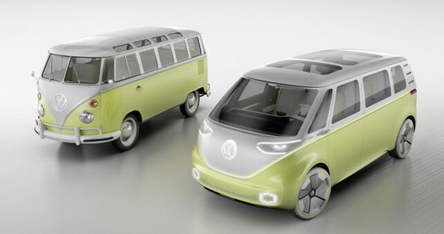 FORTID OG FREMTID: Den legendariske Bulli, designet på slutten av 40-tallet, skal få en etterfølger, men nå har vi ventet i 16 år på en ny Folkevognbuss. Blir det I.D. Buzz? Foto: Volkswagen