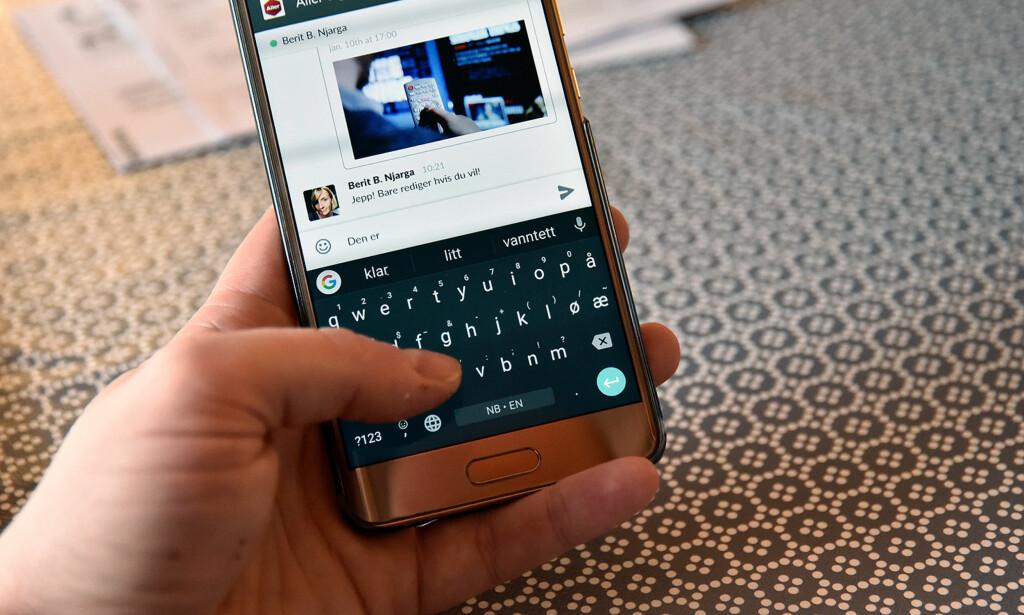 KJEKKE TRIKS: Googles tastatur, Gboard, lar deg søke direkte i Google fra tastaturet. Det har også mange smarte triks for å skrive mer effektivt. Foto: Pål Joakim Pollen