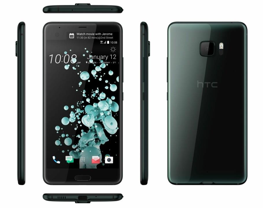 EKSTRA SKJERM: Over hovedskjermen sitter en liten skjerm som brukes til varsler. Både for- og bakside er dekket av glass. Foto: HTC