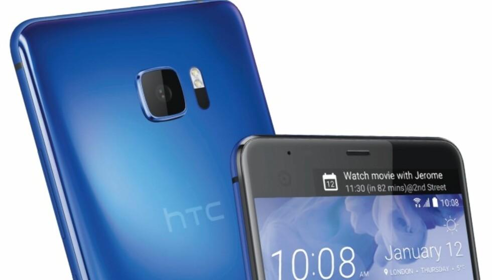 FLERE FARGER: Mobilen kommer i flere farger, deriblant blå. Her ser du tydelig den ekstra skjermen til høyre. Foto: HTC