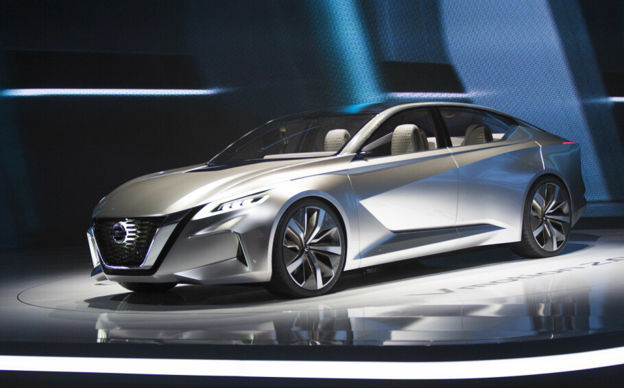 VANT PRIS: Nissans konseptbil Vmotion 2.0 vant førsteprisen som beste konseptbil på bilmessen i Detroit. Showbilen viser både merkets designretning fremover, og kommende teknologisk innhold - som selvkjøre-systemer utviklet i partnerskap med romfartsorganisasjonen NASA. Foto: Nissan