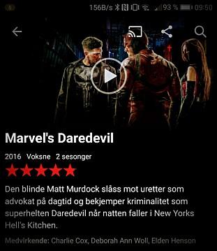 4K: Netflix har et relativt godt utvalg i TV-serier med 4K og HDR-støtte. Et trykk på cast-knappen (øverst) sender bildet til TV-en. Foto: Pål Joakim Pollen