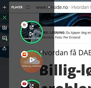 SPILL OG STOPP: Via play-ikonet i venstre marg har du full oversikt over lyd og video som er åpne i alle nettleserfaner. Videoer kan du sprette ut i et eget vindu. Skjermdump: Pål Joakim Pollen
