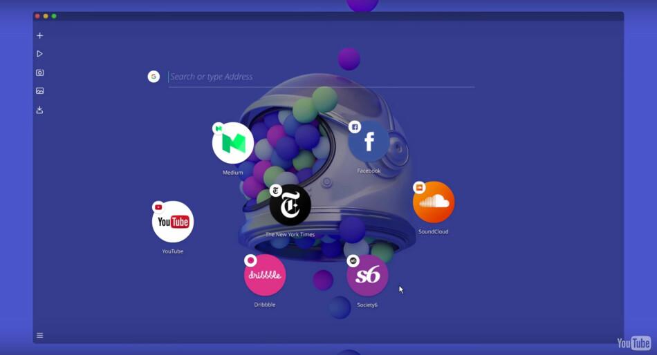 FRISKT PUST: Opera Neon er ikke helt som andre nettlesere. Foto: Opera/YouTube