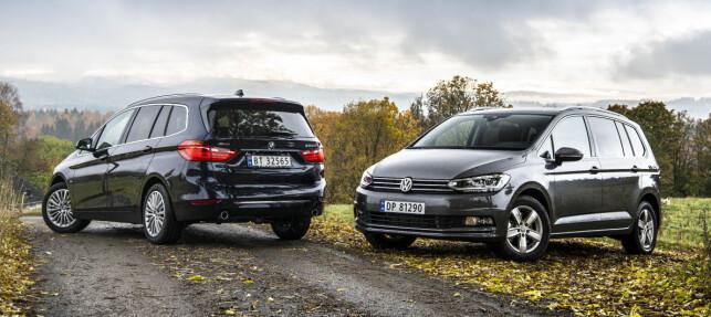 VINNERE: Flerbruksbilene gjør comeback takket være modeller som disse: BMW 2-serie Gran Tourer og nye VW Touran - kompakte 7-setere med masse plass. BMW er også vinner som merke, mens VW forblir størst av alle. Foto: Jamieson Pothecary