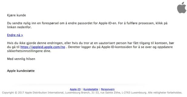 Denne e-posten har langt bedre språk enn det vi har sett tidligere fra svindlere.