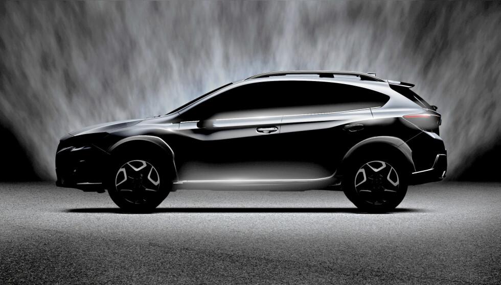 ME JUKSA LITT: Bildet vi mottok fra Subaru var i utgangspunktet noe mørkere enn dette, men det fremgår uansett at dette er en silhuett som tilsvarer konseptbilen som ble vist i mars i fjor. Foto: Subaru
