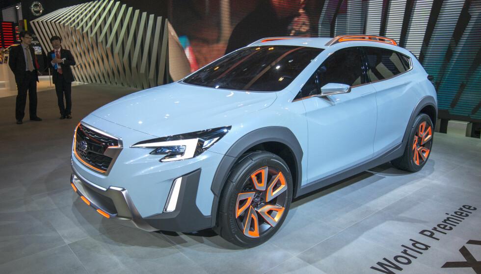 KONSEPTET: Her vises Subaru XV som konseptbil. Stedet er bilmessen i Genève i mars 2016. Foto: Martial Trezzini/Keystone via AP
