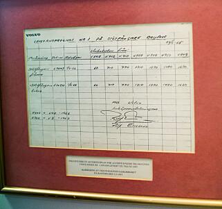 FØRSTE ORDRE: På kontoret til daglig leder Roger Kyseth henger ordren som viser Volvos bestilling på 60 støtfangere, i 1965. Foto: Kasper van Wallinga
