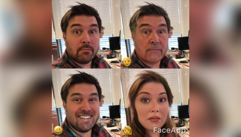 FIKS FJESET: Faceapp er en morsom selfie-app som automatisk manipulerer portretter med relativt god troverdighet. Foto: Pål Joakim Pollen