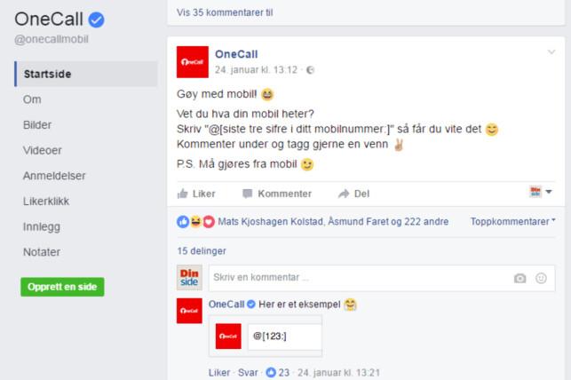 MANGE KOMMENTARER: Over 3.000 kommentarer har det blitt etter at OneCall la ut den artige «oppskriften» på Facebook-siden sin. Foto: Skjermdump