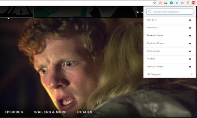 KATEGORIVALG: Slik ser det ut når du bruker Chrome-utvidelsen. Øverst er et søkefelt, deretter dine favorittkategorier, og nederst finner du flere kategorier. Foto: Skjermdump