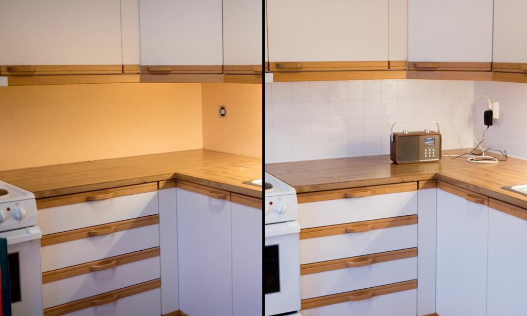 FØR OG ETTER: Du klarer det selv, og det er en enkel måte å få et penere kjøkken på. Foto: Simen Søvik