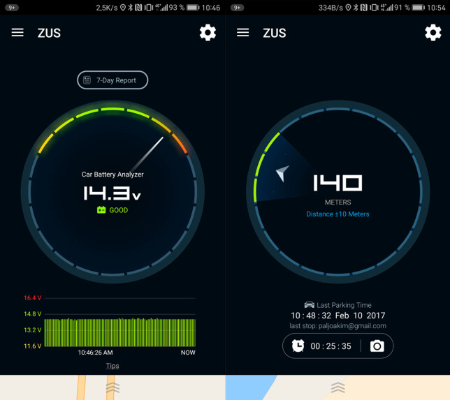 APP: Zus-appen lar deg sjekke spenningen på bilbatteriet, og gir deg også informasjon om hvor langt unna bilen er parkert, og i hvilken retning. Foto: Pål Joakim Pollen