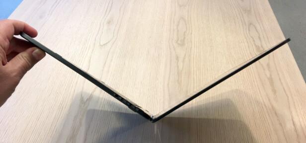 SLANKESEN: Så tynn er den altså, og ca 1,1 cm når den er klappet igjen. Foto: Bjørn Eirik Loftås