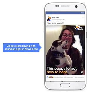 KOMMER: Snart vil videoer starte automatisk, med lyd, i nyhetsstrømmen på Facebook. Foto: Facebook