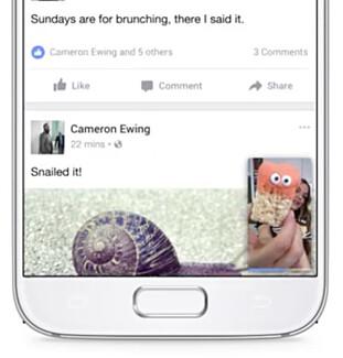 I ET VINDU: Videoer kan minimeres slik at de spilles i et lite vindu mens du skroller videre i nyhetsstrømmen. Foto: Facebook